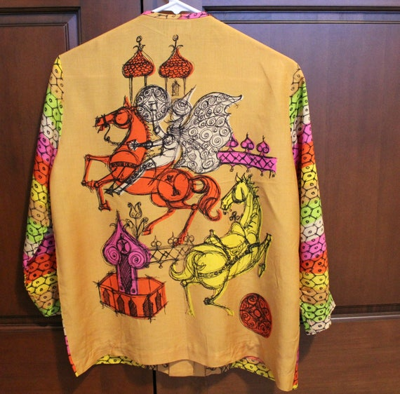 Vintage Hippie Boho Arabian Print Blouse by To Go With My Pants Internationale, Mod Art Colorful Shirt