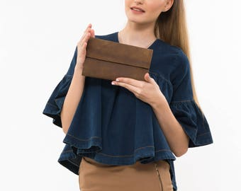 Brown leather wallet, Brown leather case, Minimalist wallet, Leather women's pouch, Brown leather purse, Card Slots wallet