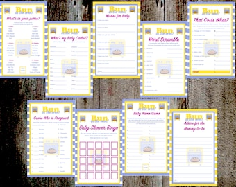 Bun in the Oven Baby Shower Game and Advice Card Printables