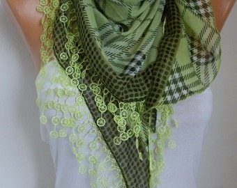 Neon Green Pistachio Plaid Cotton Scarf Tartan Scarf  Spring Summer Scarf - Necklace Oversized Cowl Gift  For Her Women Fashion Accessories