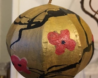 SALE! Two Dollars Off Original Price: Hand painted 5 inch paper mache tree ornament.