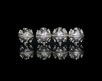 Four 10mm Sterling Silver Bali Beads, Four Genuine 925 Sterling Silver Beads, 10mm. Sterling Silver Bali Beads.