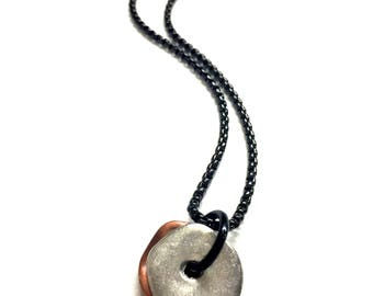 Cool Mens Necklace w/ Silver Copper Pendant. Mens Chain Necklace. Black Stainless Steel Chain Necklace. Mixed Metal Jewelry for Him and Her