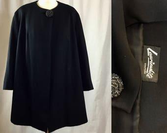 50s wool cashmere black Coat