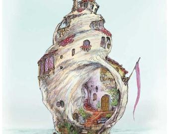 Shell art illustration print for nursery