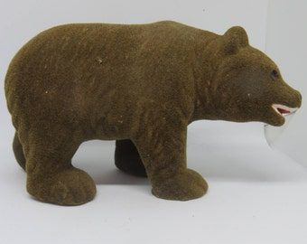 Vintage Flocked Adult Bear Figurine