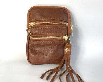 Mini leather wallet - golden cognac brown