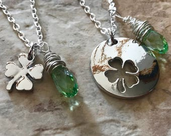 Custom Four Leaf Clover Set Two Necklaces Cutout Pendants Swarovski Crystals Green or Birthstone Your Choice St Patrick's Day Shamrock