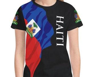 Haiti Ladies Flag Tee 2.0/Haitian/Haitian Shirt/Haitian Gifts/Haiti Items/Haiti T Shirt/Haiti Love/Haiti Pride/Women's/Ladies/carnival