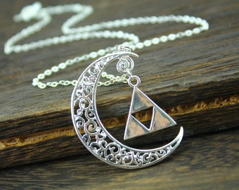sterling silver the legend of zelda jewelry crescent necklace halloween gift N309A