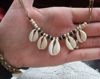 Necklace with cowrie shells