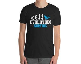 Evolution Surfing -  funny surfing tee - surfing lovers tee - surfing apparel - surf board shirt - summer surf shirt - funny surfers tee