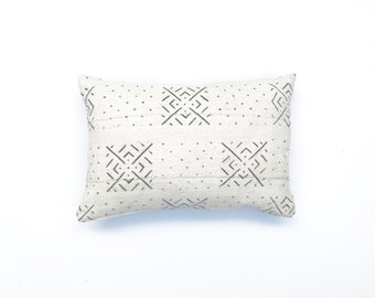 African Mudcloth Pillow Cover   African Mud cloth Pillows White Mudcloth Fabric Cushion Cover Mudcloth Textile Boho Decor Lumbar Pillow