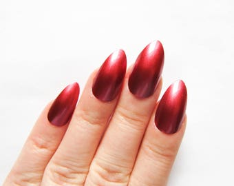 Cherry Red Press on Nails / Fake Nails / Stiletto Nails / Almond Nails / Red / Nails