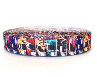 1 Metre Power Rangers grosgrain Ribbon 22mm wide for cake, hair, crafts, gift wrapping, scrap booking