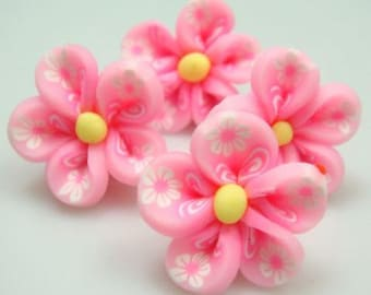 5 Piece Handmade Light Pink Clay Flower Bead Cabochons - Kawaii Decoden Flatback (TDK-C1410)