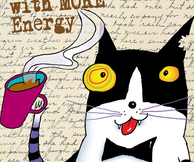 Wired Cat Fits 11 x 14 Mat Limited Edition Giclee Print