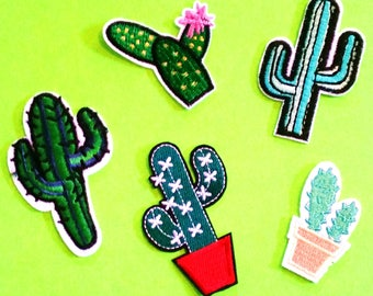 Cactus Succulent Potted Plant Super Sweet Garden House Plant Nature Fun Fully Embroidered Iron or Sew On Patch - More Styles