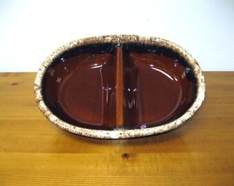 Vintage Hull USA Ovenproof Brown Drip Baking Serving Divided Dish Bowl