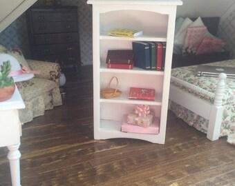 SALE Miniature White Wood Bookcase, Dollhouse Miniature, 1:12 Scale, Dollhouse Furniture, Wood Shelves, Dollhouse Decor, White Case