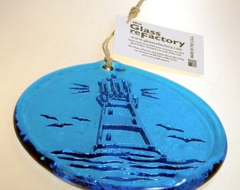 Recycled Lighthouse suncatcher, aqua lighthouse ornament, window art