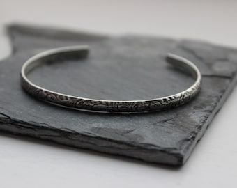 Floral Sterling Silver Cuff- Flower Half Round - Polished or Oxidized Silver