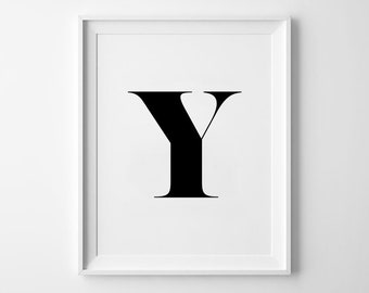 Y Letter Print, Alphabet Prints, Capital Letter, Typography Wall Art, Black and White, Scandinavian House, Minimalist Style