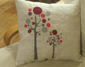 Twin Trees Pillow #red