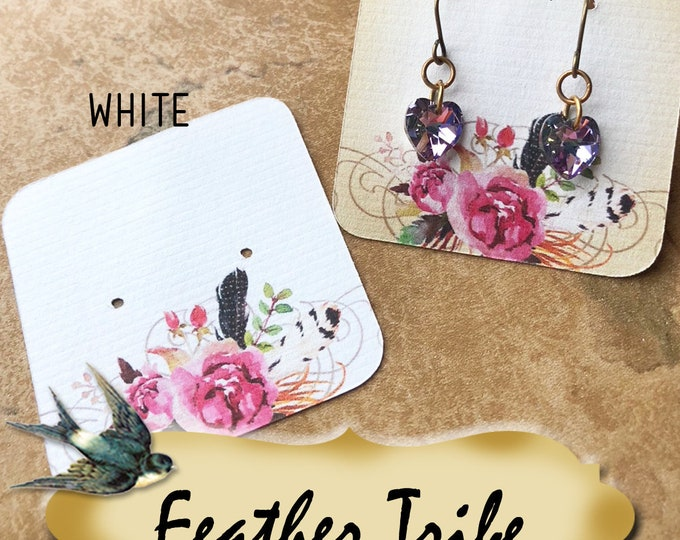 60•FEATHER TRIBE•Necklace Card•Earring Cards•Jewelry Cards•Display Card•Display•Earring Holder•Necklace Holder•2x2 or 3x3