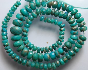 15 Inches Long, Natural Arizona Sleeping Beauty Turquoise Faceted Rondelles, 9.5-4.5mm