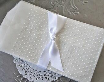 25 Glassine Favor Bags, Embossed Swiss Dots