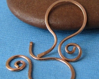Small Hammered Copper Ear Wires, Swirly Hoops, Handmade Earring Findings, Interchangeable