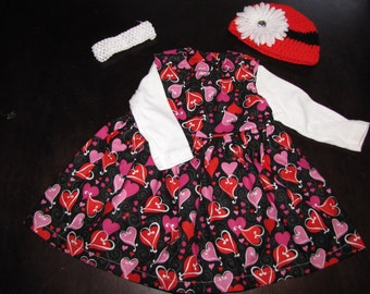 VALENTINE Baby or Toddler Girls Dress - Complete 5 piece outfit for all seasons