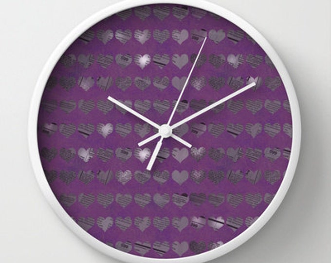 Purple Clock - Purple Hearts - Wall Clock - Newspaper Heart Art - Photo Art Clock - Unusual Clock - Made to Order