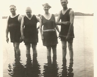 """Vintage Snapshot """"Reflections"""" Swimmers Reflection In Water Bathing Suits Found Vernacular Photo"""