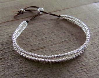 "Sterling Silver Beadwoven ""Friendship"" Bracelet"