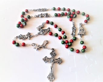 Great Rosary 7 Holy, Holy family, Angel, Star, Magi, Shepherd, the colors of Christmas green red silver Tibetan 52 Cm