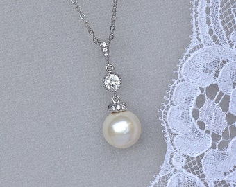 Ivory White Pearl Necklace, Pearl Bridal Necklace, Crystal & Pearl Pendant, SISSY
