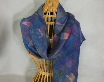 """Silk Scarf """"Navy, Maroon, and Moss Blend"""", Hand Painted Silk Scarf, Navy Blue Scarf"""