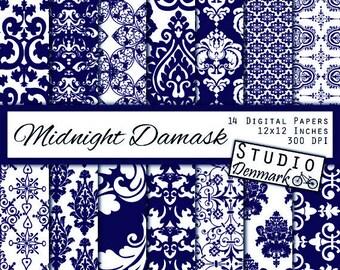 Navy Damask Digital Paper - Decorative Floral Dark Midnight Blue Wedding Lace Backgrounds - Commercial Use - Instant Download Damask