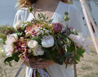 Bohemian Bouquet, Garden Fresh Bouquet,Blush Bouquets, Bridal Bouquet, XL bouquet, XL BOHO bouquet