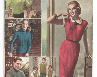 Womens Weekly Knit-With-Designs 11 Page Booklet 50s - 60s Knitting Patterns
