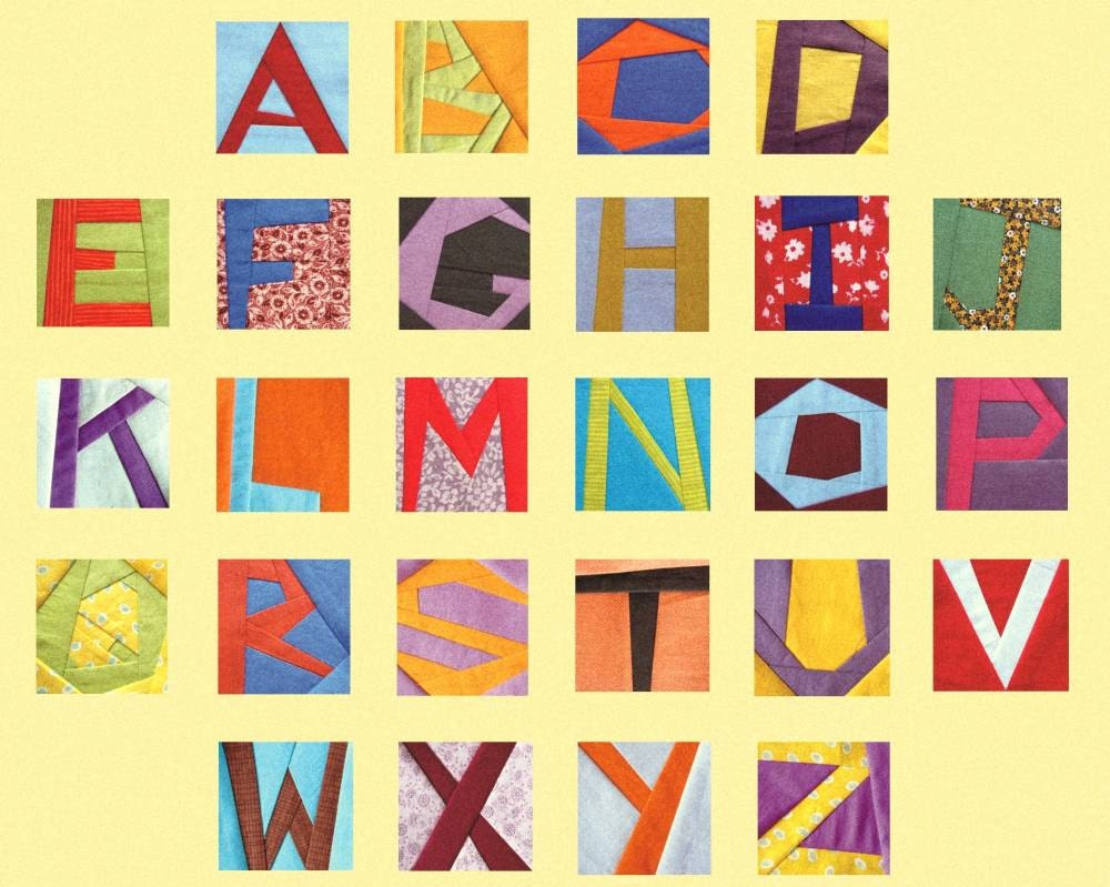 Papier zusammensetzen Quilt Blöcke Buchstaben Papier Stiftung