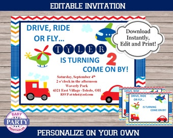 Transportation Party Editable Invitation, red car, plane, Create your own invitation, Any Occasion, cars, street lights, stop signs