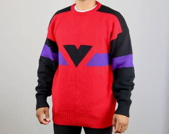 Vintage Shape Design Sweater. Vintage Sweater. 80s Sweater. Ugly Sweater. Red Sweater. Purple. Triangle. Geometric. Vintage Sweater. Mens. LM4mAY