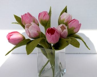 1 x Tulip, in pink, white, felt flowers with leaf bouquet for the apartment bridal bouquet flowers