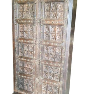 Farmhouse Chic Antique Wardrobe Armoire Lotus Floral Carved Doors Indian Furniture Storage Cabinet NATURAL WOOD Limited  sc 1 st  Etsy & Carved wood doors   Etsy