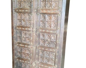Farmhouse Chic Antique Wardrobe Armoire Lotus Floral Carved Doors Indian Furniture Storage Cabinet NATURAL WOOD Limited Time Free Shipping