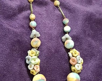 Resereved xxxxxxBeautiful Vintage Czech Floral Rainbow Satin Glass Bead Necklace 1920's - 30's