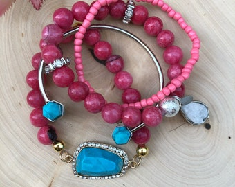 Raspberry and Turquoise Stone Collection Set Stretch Bracelet/Trend Jewelry/Semi Precious